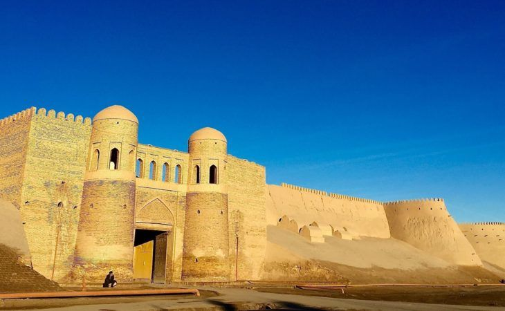 entrance to Khiva with mud wall in Uzbekistan- silkroad tours