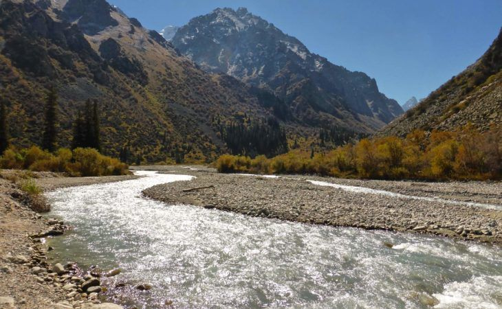 Ala Archa national park near bishkek with mountains and river