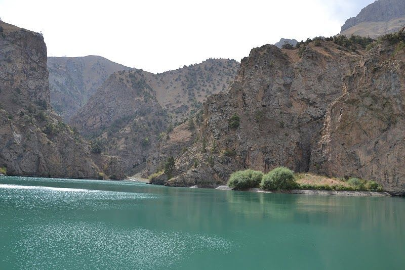 Lake Chukurak in best trekking hiking tour in Tajikistan Fann Mountains