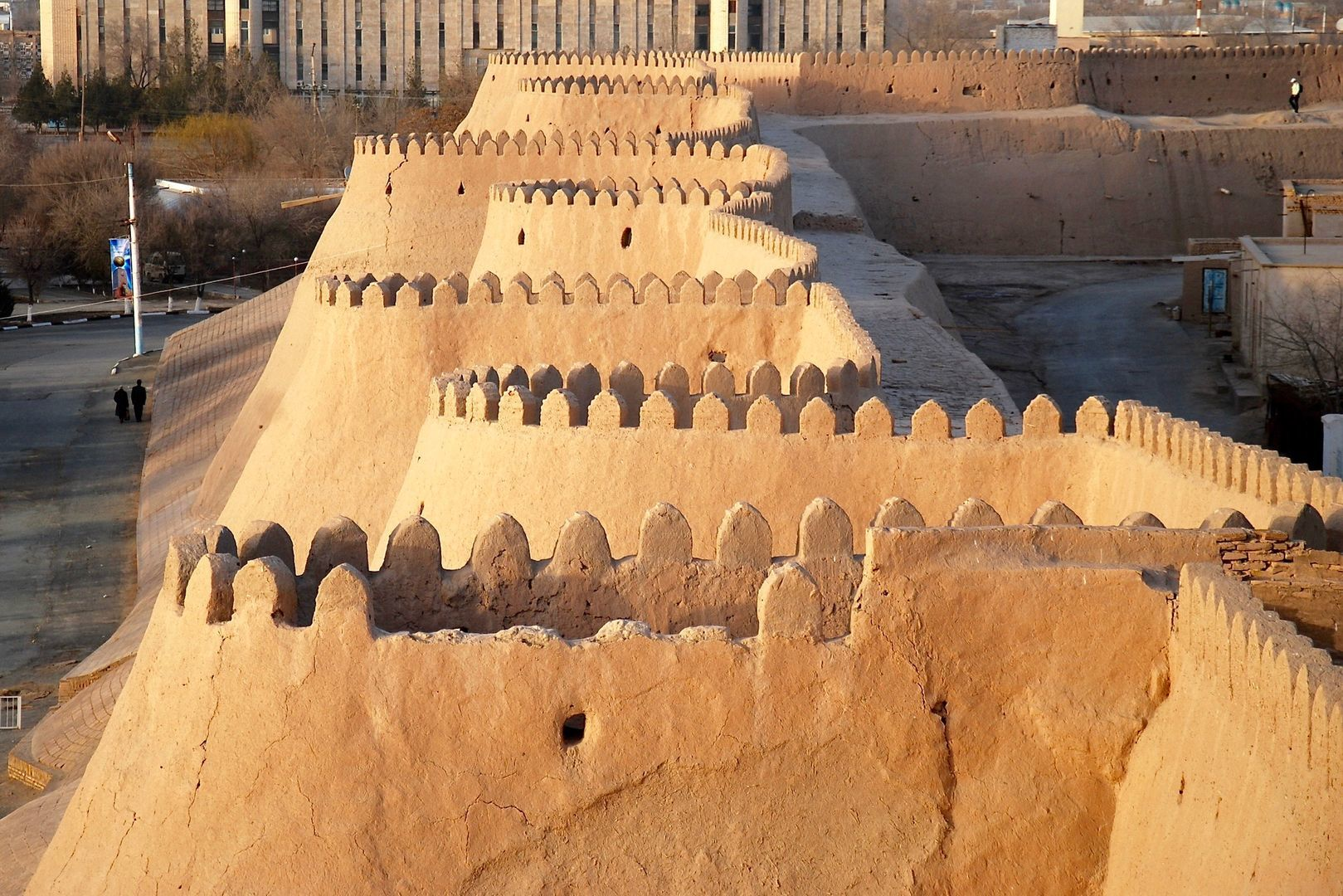 wide mud wall of Khiva surrounding the ancient city, Uzbekistan destinations