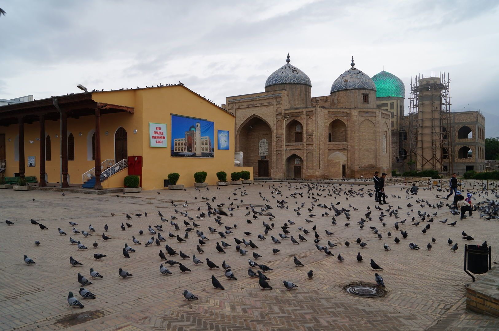 Khujand square full of pigeons and ancient buildings-central-asia-culture