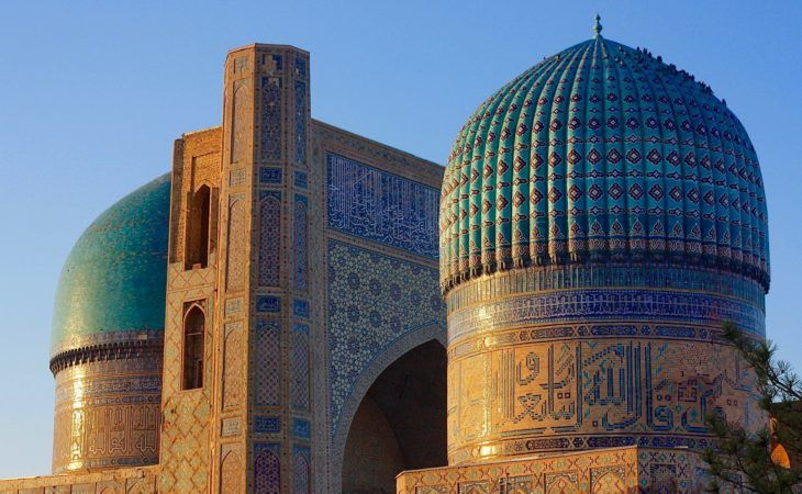 zoomed view to the domes of bibi-khanum mosque in Samarkand travel to Uzbekistan Tour