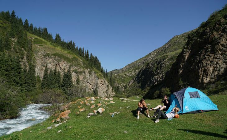 Tents in front of mountains, Kyrgyzstan