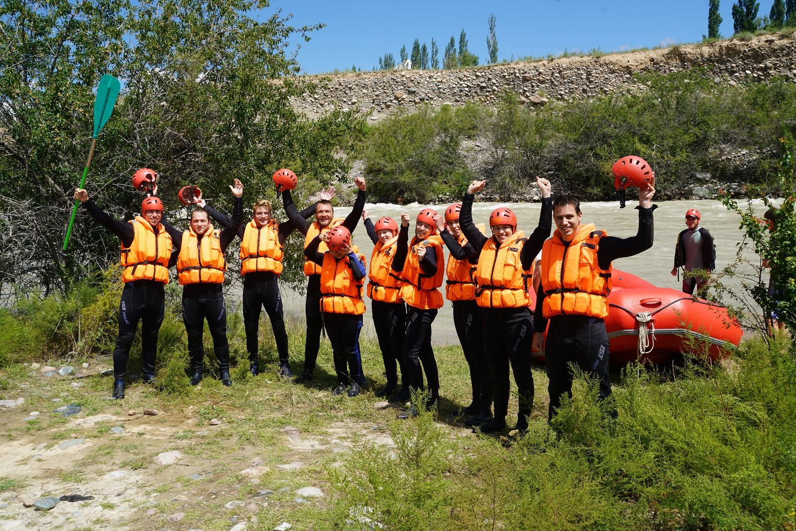 Rafting of tourist group in mountain river