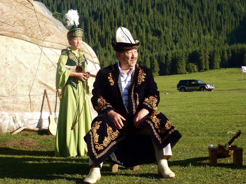 folkolore concert in front of the yurt in Kyrgyzstan