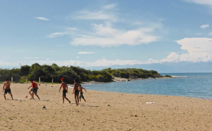 Issyk Kul local people enjoying their beach holidays in Kyrgyzstan