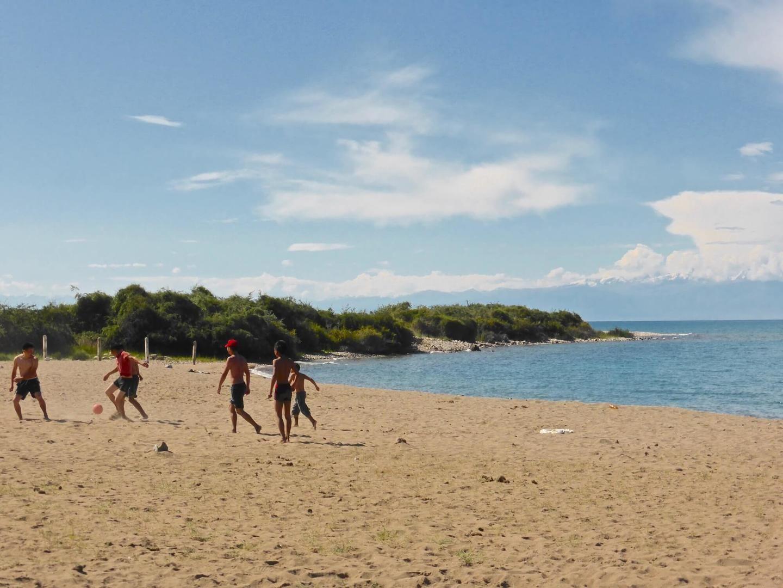 Issyk Kul local people enjoying their beach holidays in Kyrgyzstan