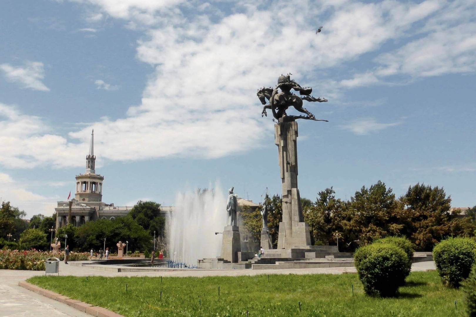 Bishkek square in the capital of the Kyrgyz Republic-active Kyrgyzstan tour