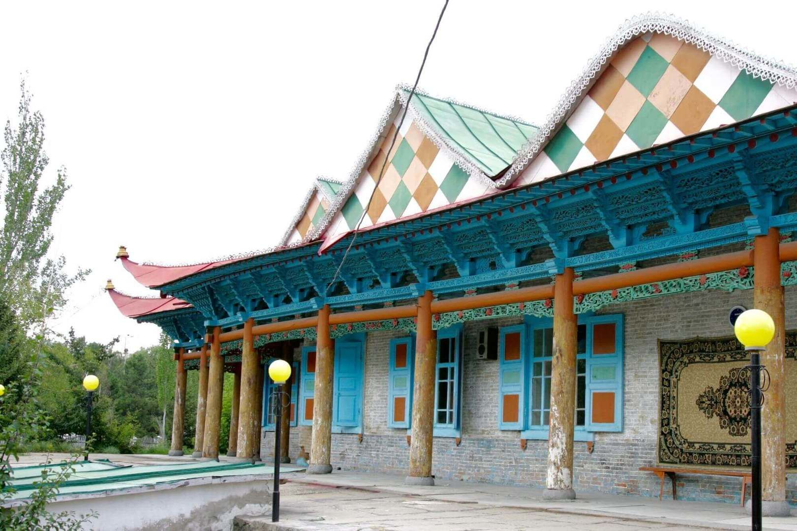 Wooden Dungan Mosque in Karakol with colorful and wavy roof