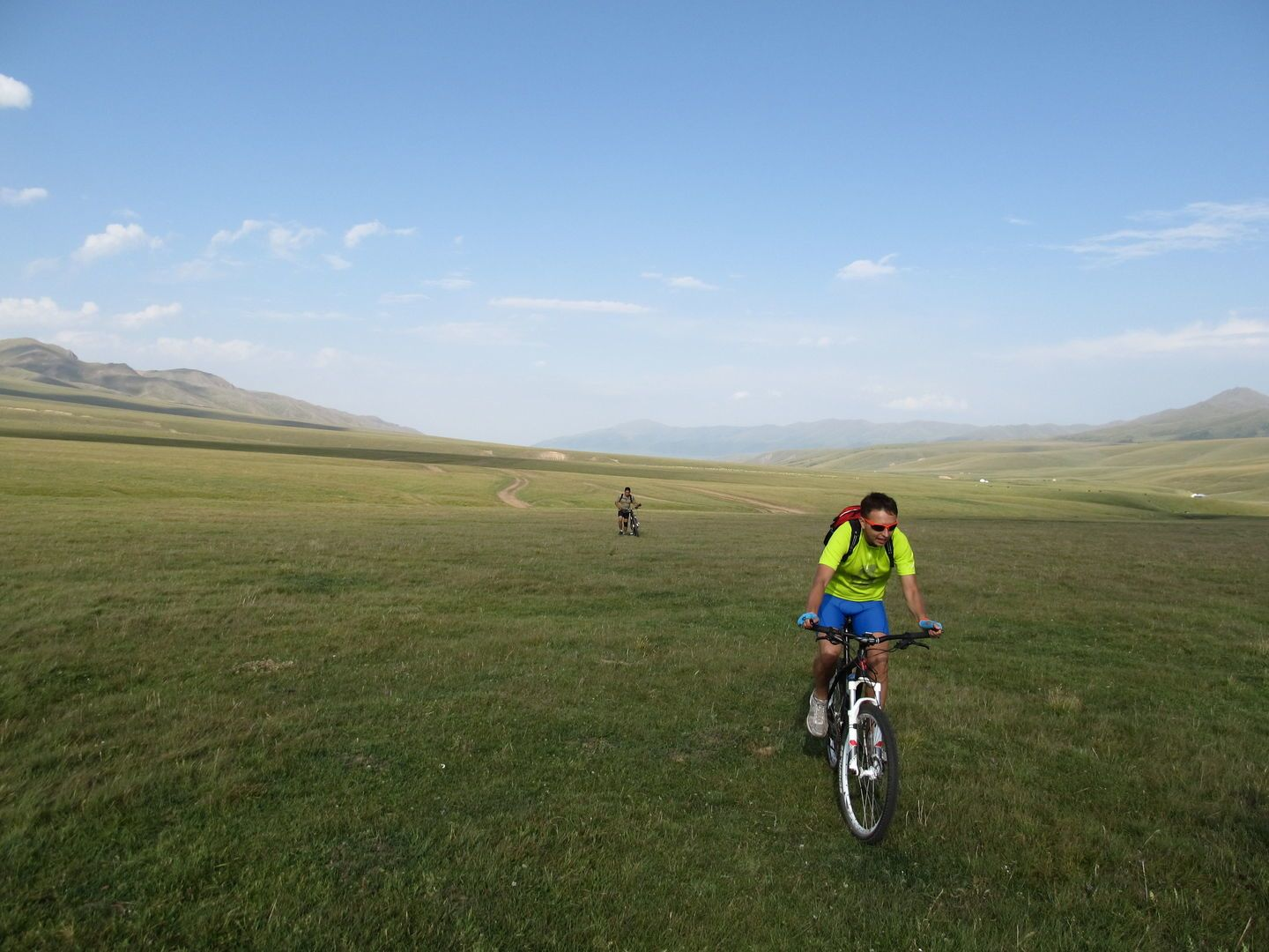 biking adventure of tourists in the Kazakh steppes