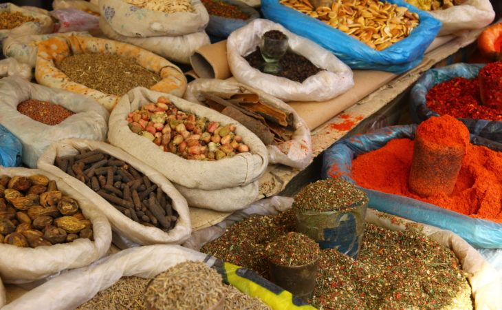 various local spices in central asian bazaar, silk road spice trade