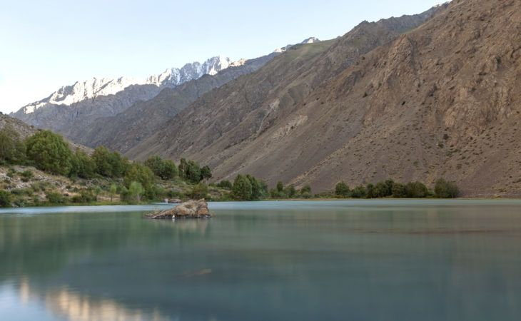 view of Jisew lake during the trekking in Pamir highway, Tajikistan