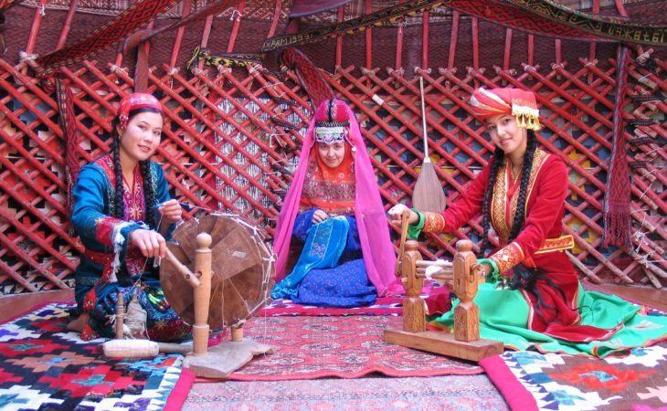 girlsinside the yurt in Kyrgyzstan