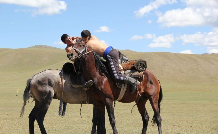 Horse wrestling of nomads in Kyrgyzstan