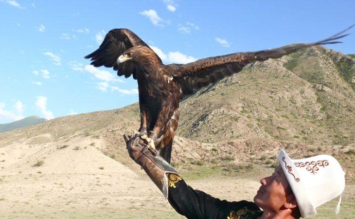 men holding eagle in Kyrgyzstan