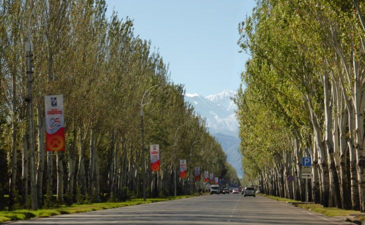 Bishkek street lined with green trees, road leading to Ala-Archa National Park, Kyrgyzstan