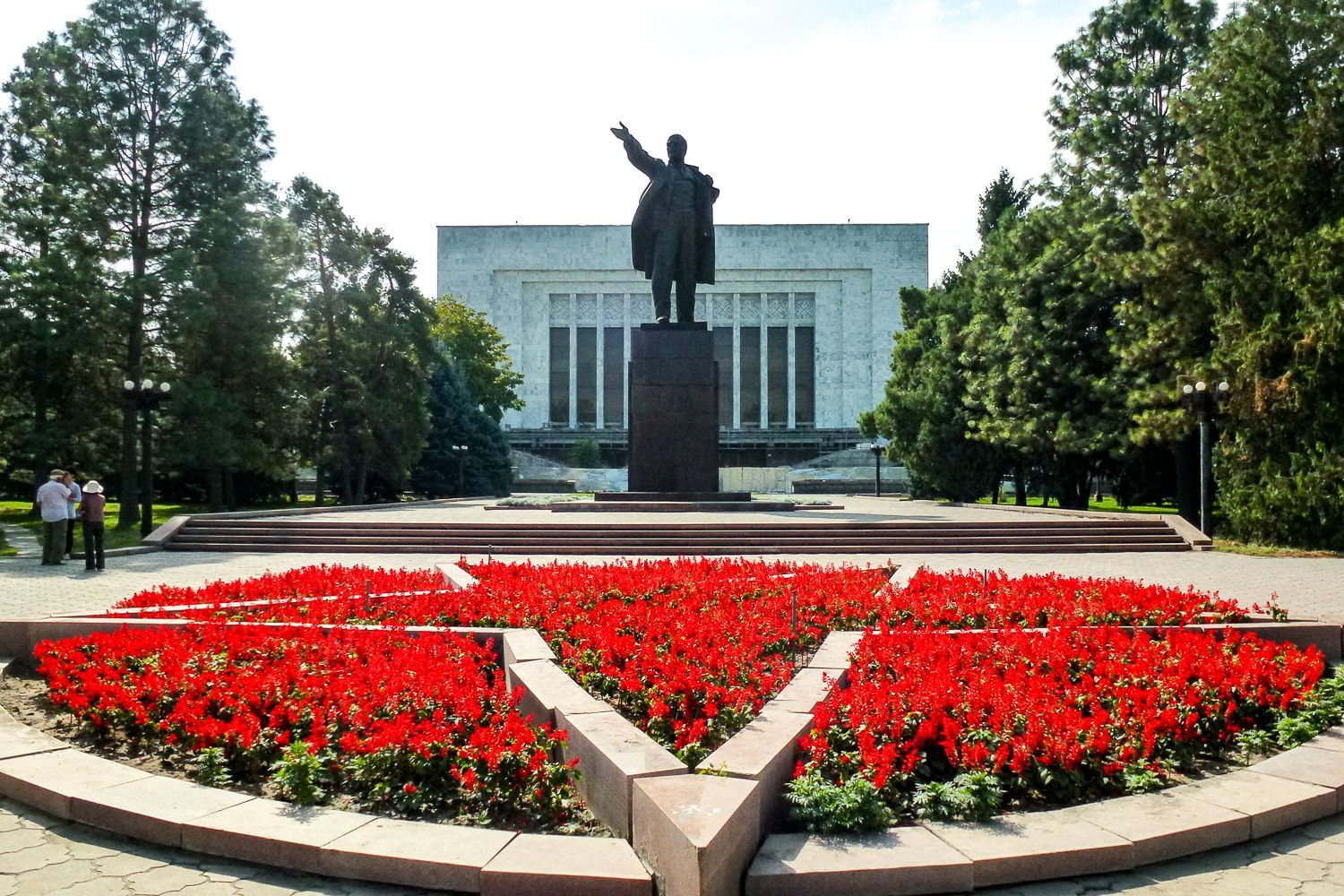 Lenin monument in front of the state historical museum in Bishkek during classic Kyrgyzstan Tour
