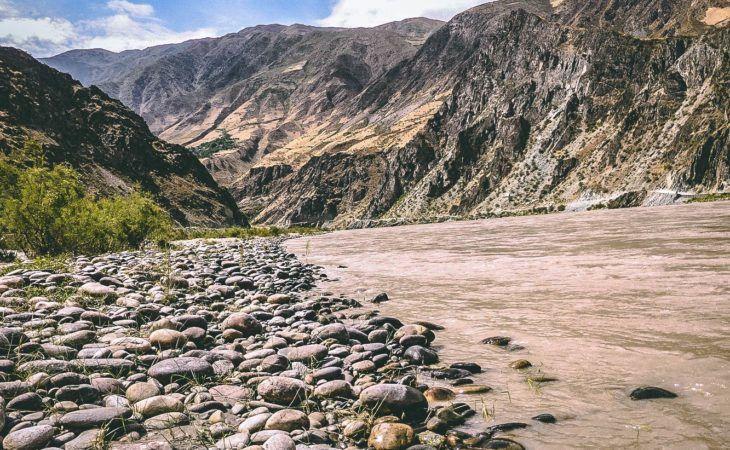 Panj river, Tajik-Afghan border near the town of Rushan, Gorno Badakhshan, Tajikistan