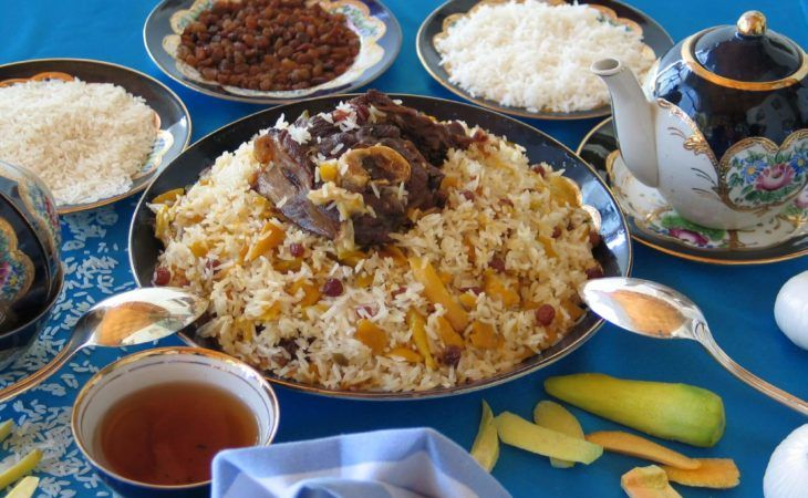 Plov in central asian cuisine