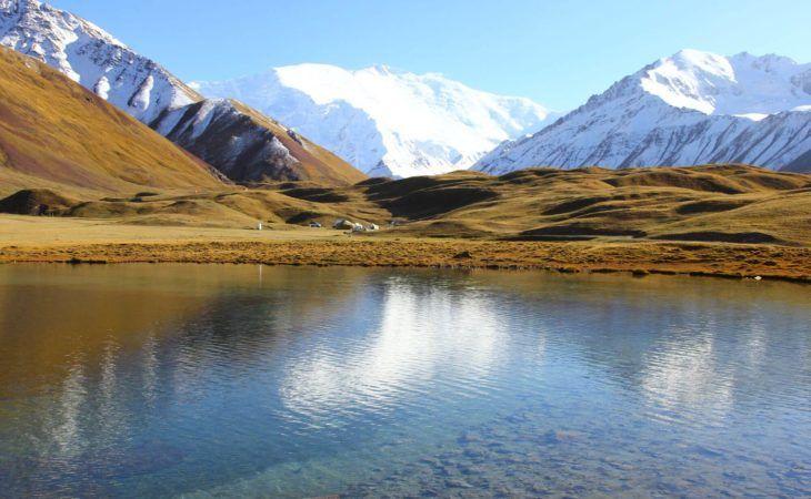 Tulpar Kul mountain lake in Kyrgyzstan