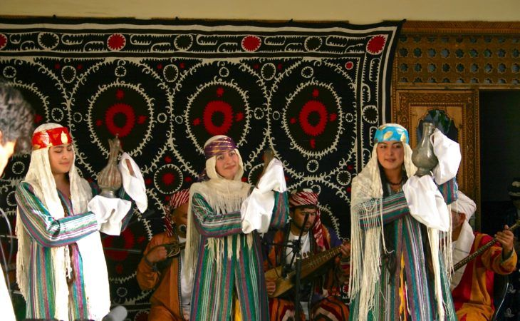 tajikistan women in national dress and cultural dance