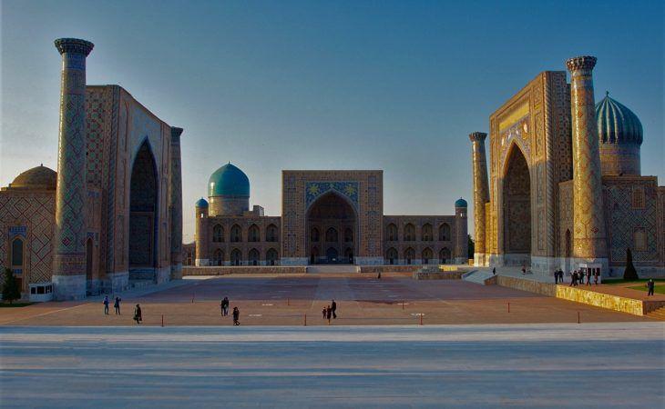 Samarkand registan during Silk Road, classic Uzbekistan travel