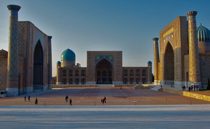 Samarkand registan during Silk Road, classic Uzbekistan travel