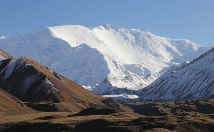 Lenin Peak view in Kyrgyzstan, snowy peak seen close