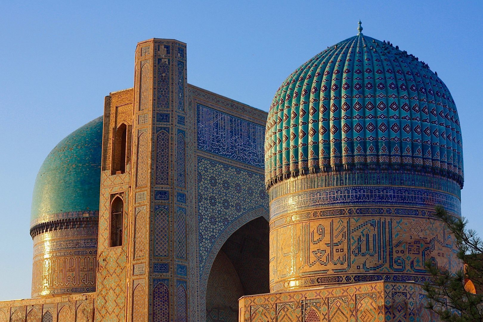 Timurid architecture blue domes in Silk Road in Central Asia