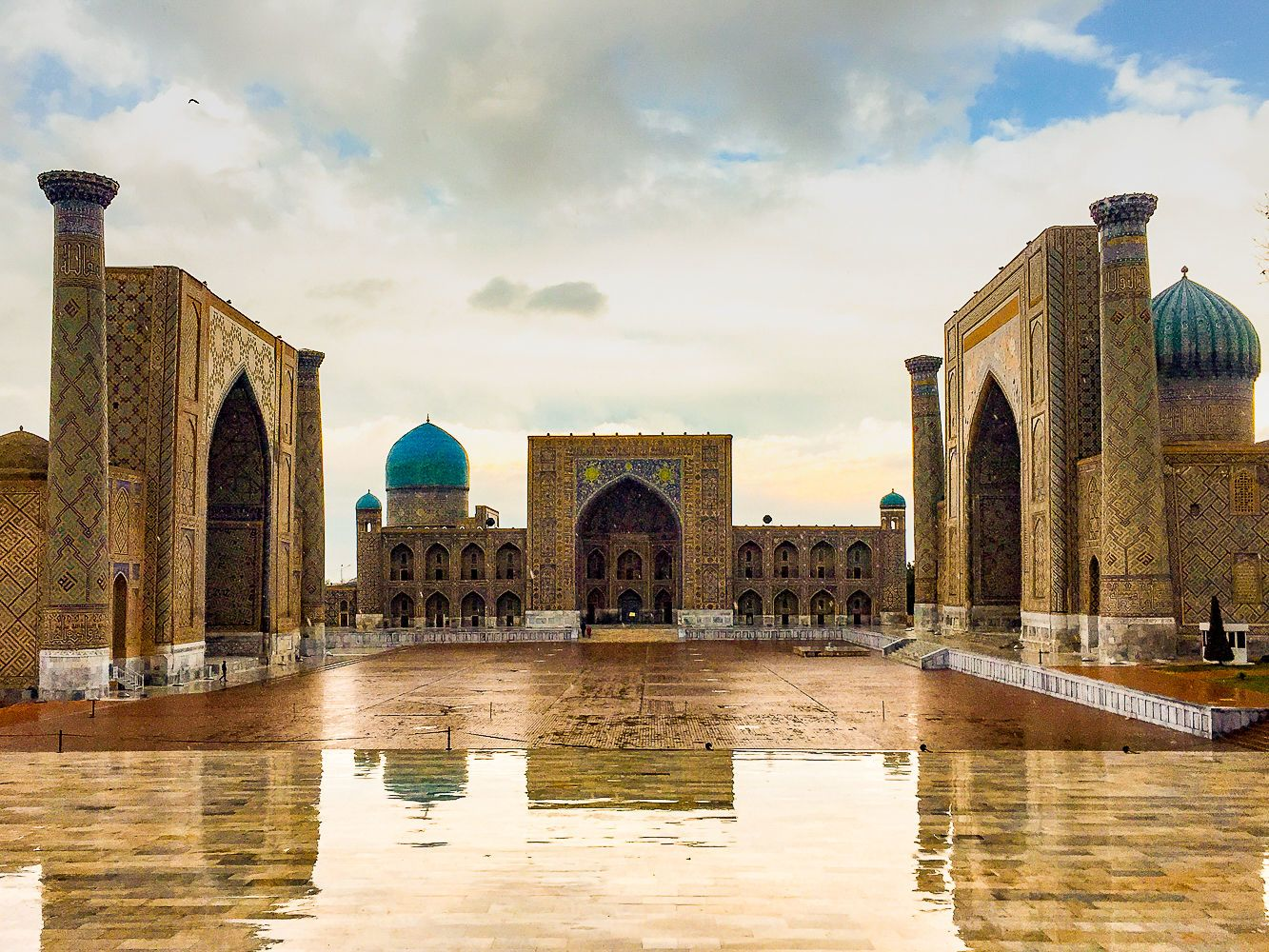 Registan square in Samarkand visited in Central Asian Silk Road Tours