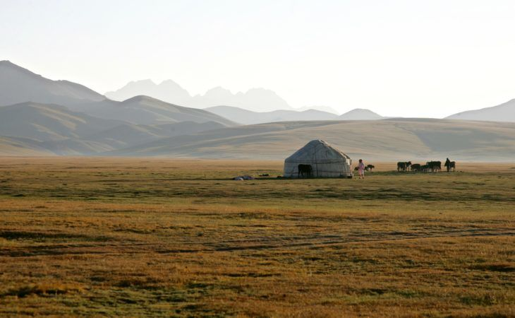 Song Kul lake and pasture in Kyrgyzstan trip