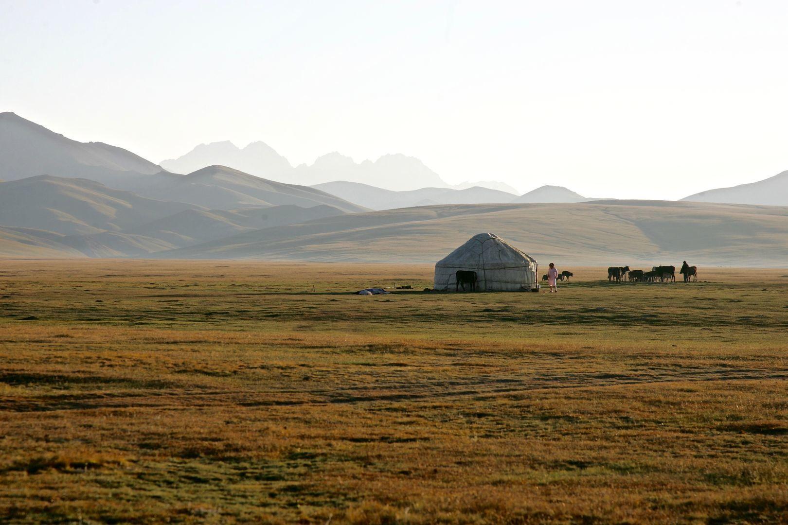 Song Kul lake and pasture in Kyrgyzstan trip