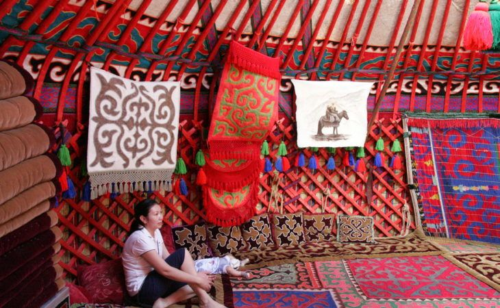 Best of Central Asia Tour: ornately decorated yurt in Kyrgyzstan
