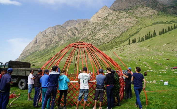 unusual team building activities yurt in kyrgyzstan-central asia