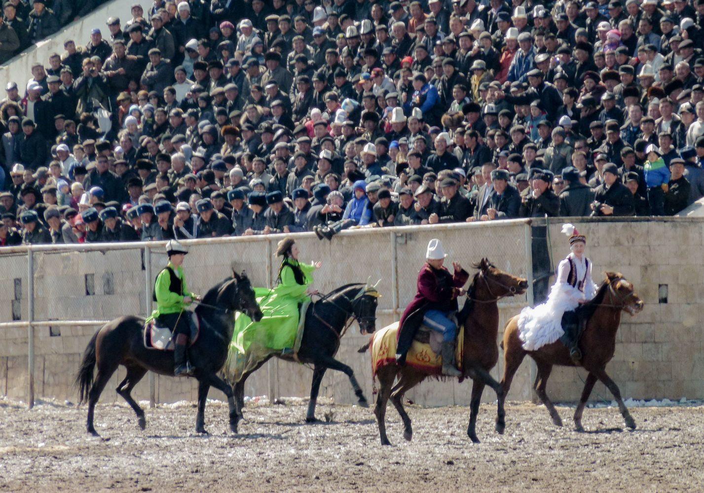 National horse games with girls in Bishkek