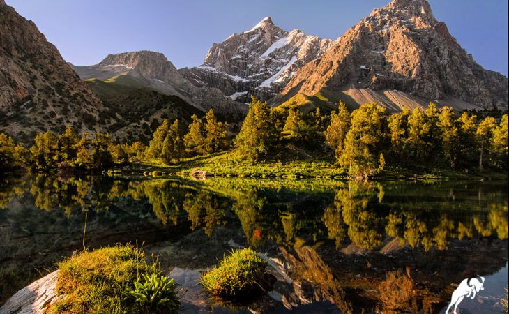 Gorgeous nature landscape during mountain-bike Tajikistan Tour