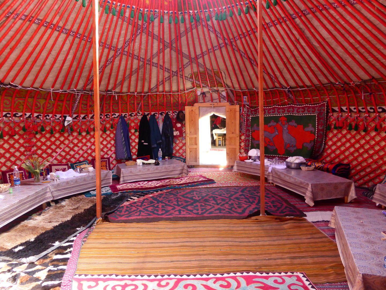 inside a yurt in kyrgyzstan
