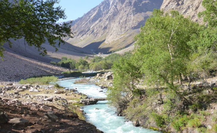 View of high Pamir mountains & river, Tajikistan travel