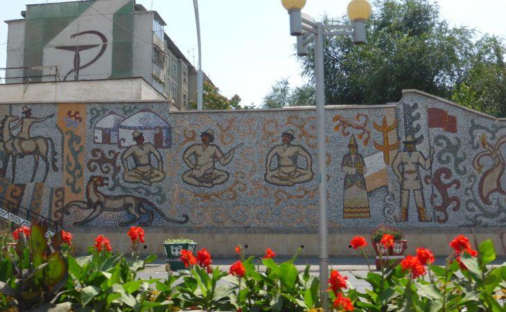 wall mosaics in Osh city, kyrgyzstan