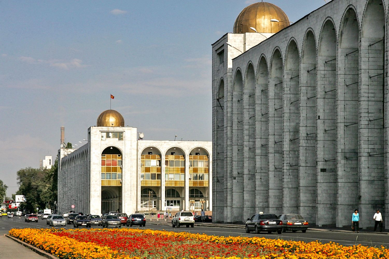 Arched buildings in main square Ala-Too, on Chui street in Bishkek travel guide