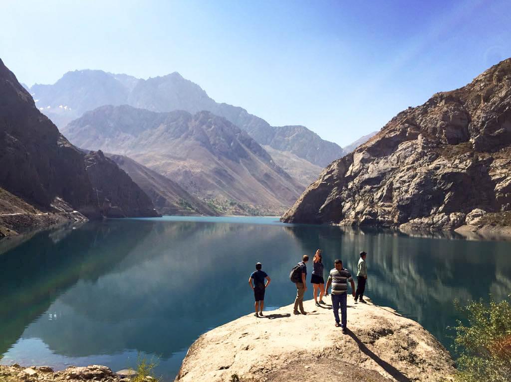 Best of Central Asia Tour - Iskander Kul Tajikistan tourists enjoying nice view