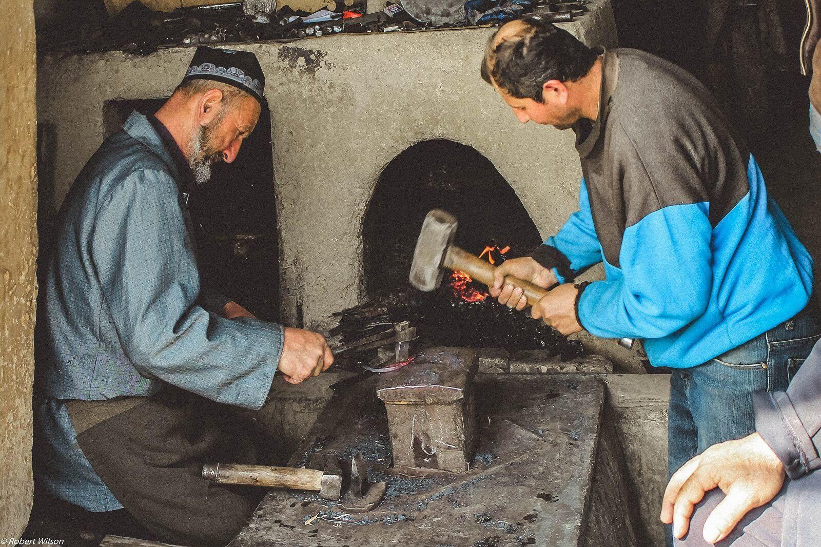 Best of Central Asia Tour Blacksmiths in Istaravshan making knives