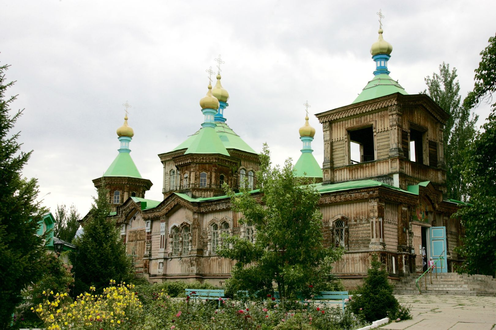 Wooden church in Karakol can be visited during Kyrgyzstan tours