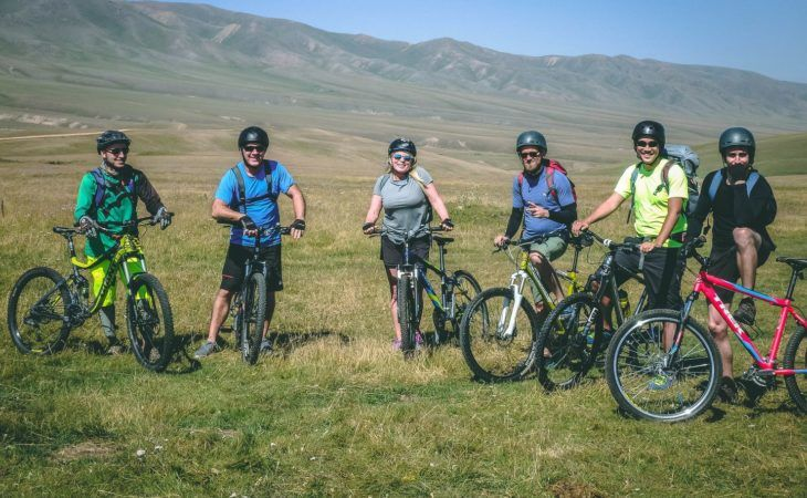 Kyrgyzstan Cycling Tourists Karkara Valley