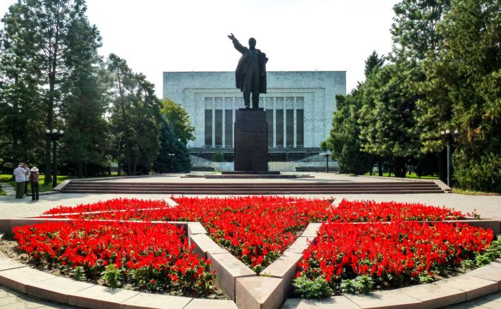 Bishkek Square with Lenin and flowers in Kyrgyzstan Tour