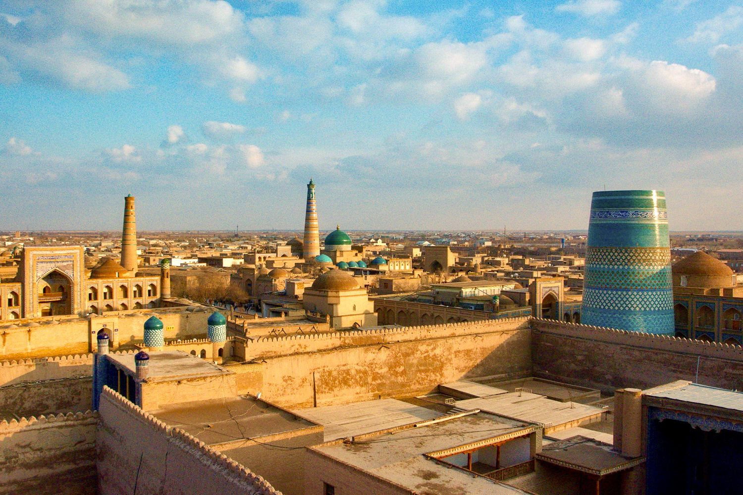Rooftop view of Khiva city, travel Uzbekistan, central asia