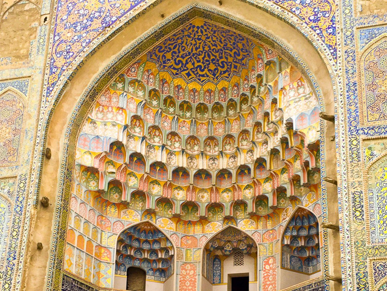 detailed decoration of abulaziskhan Mosque-bukhara-uzbekistan tour