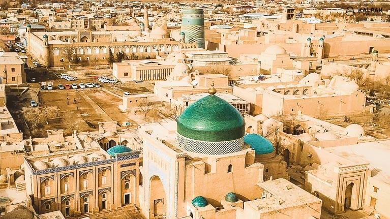 Khiva rooftop view from the highest minaret