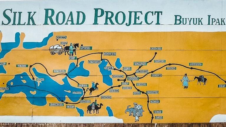 Silk Road map in Khiva