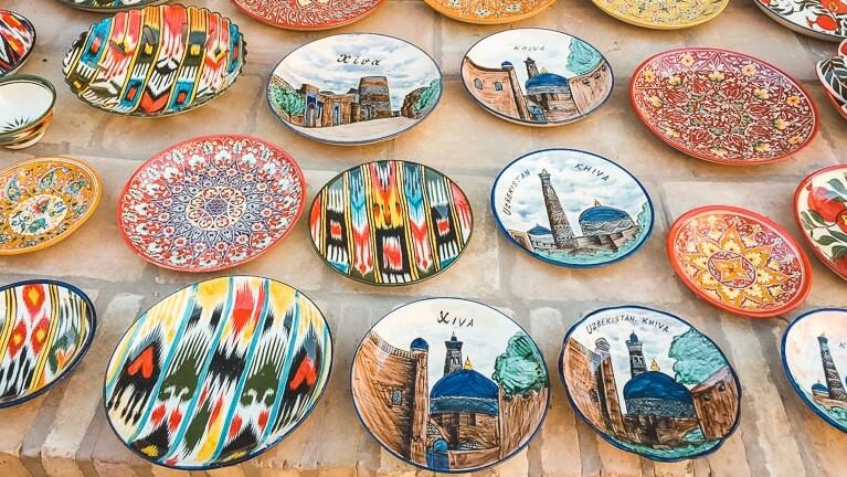 Khiva souvenir plates in Uzbekistan